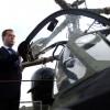 Медведев пересел  на вертолёт